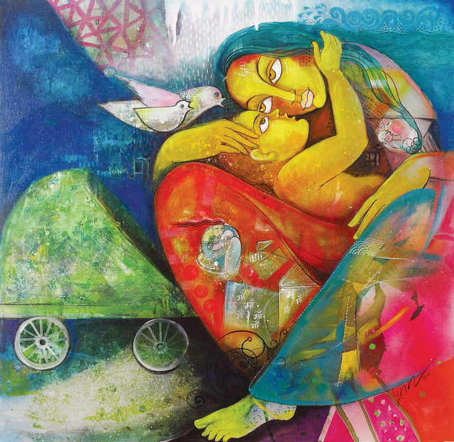 Mother & Child|Poonam Chandrika Tyagi- Acrylic on Canvas, 2016, 36 x 36 inches