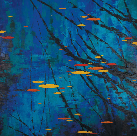 Bouyant Amidst Reflections|Remya Kumar- Acrylic on Canvas, 2014, 36 x 36 inches