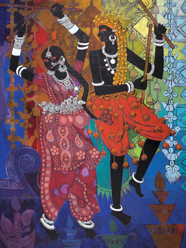 Festive Rhythm 55|Anuradha Thakur- Acrylic on Canvas, 2013, 48 x 36 inches