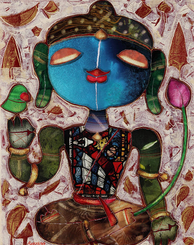 Buddha 1|G. Subramanian- Mixed Media on Canvas, 2013, 21 x 17 inches