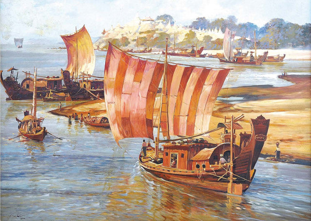 Myanmar Ancient River Boat|U Marlar- Oil on Canvas, 2008, 36 x 48 inches