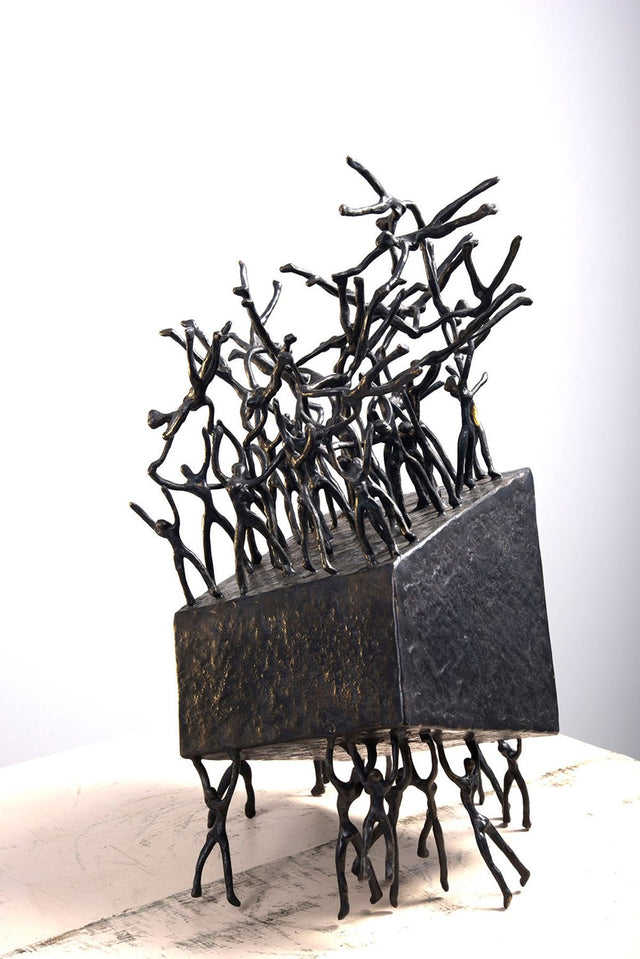Human Box  2 Variable|K.S. Radhakrishnan- Bronze, 2013, 8.5 x 8.5 x 15 inches