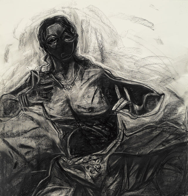 Performer 297|S. Mark Rathinaraj- Charcoal on Board, , 27.5 x 27.5 inches