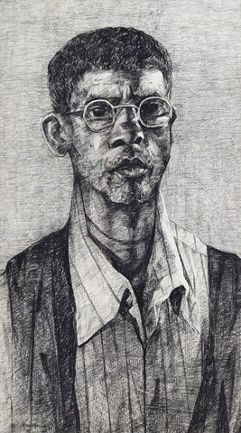 Untitled 124|S. Mark Rathinaraj- Charcoal on Board, , 39.5 x 22 inches