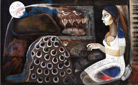 Chidiyaghar 2|Poonam Chandrika Tyagi- Acrylic on Canvas, 2013, 36 x 60 inches