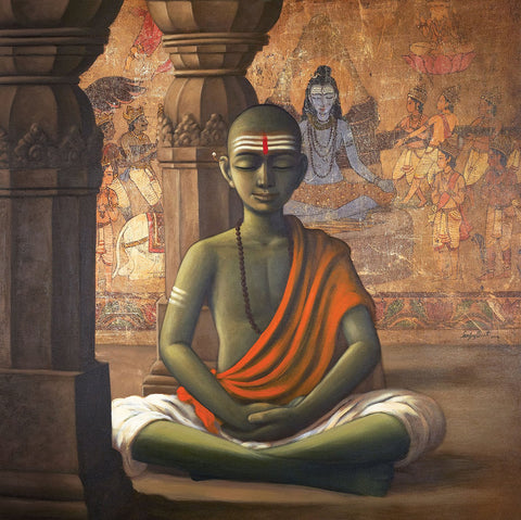 Dhayan|Sanjay Raut- Acrylic on Canvas, 2014, 42 x 42 inches