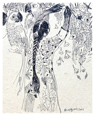 Beside of my Dream 20|A. Vasudevan- Pen and Ink on Board, 2013,  7 x 5 inches