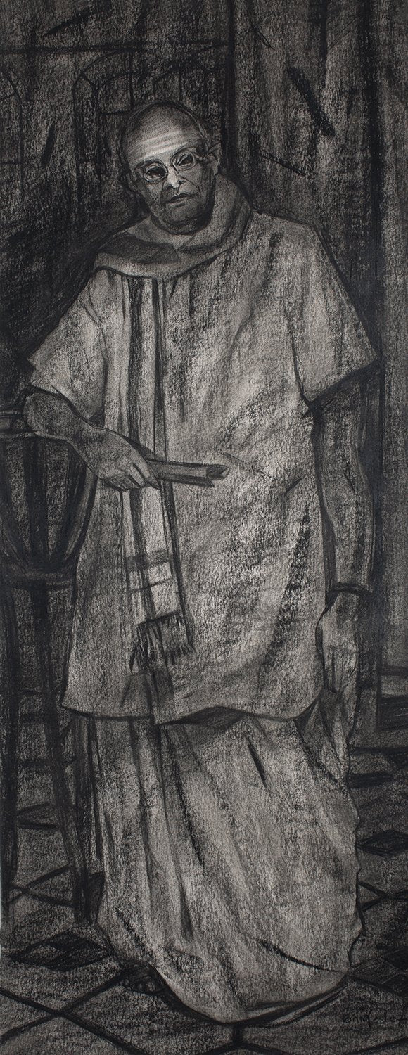 Untitled 123|S. Mark Rathinaraj- Charcoal on Board, , 36 x 14 inches