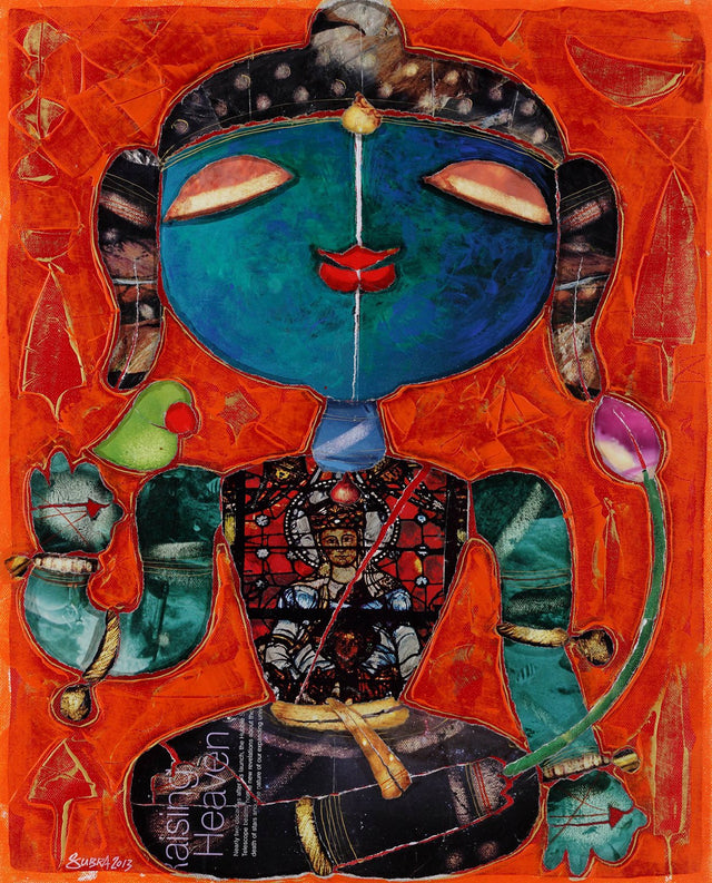 Buddha 2|G. Subramanian- Mixed Media on Canvas, 2013, 21 x 17 inches