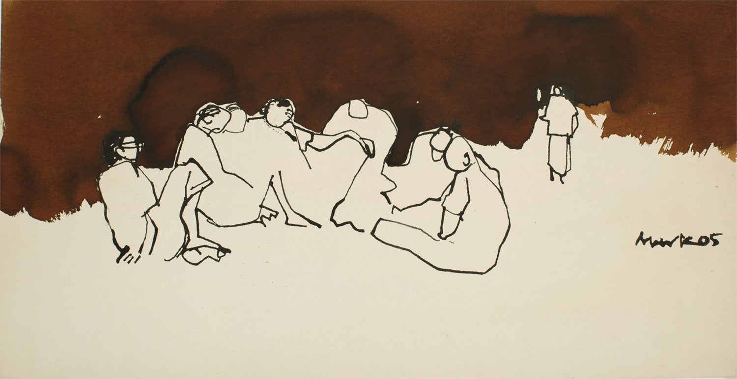 Crowd I|S. Mark Rathinaraj-  Pen and Ink on Paper, , 11 x 21 inches