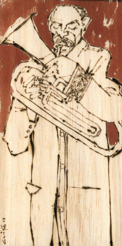 Performer 268|S. Mark Rathinaraj- Pyrography on Balsa Wood, , 8 x 4 inches