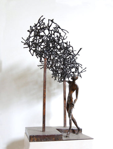 Maiya with a bursting cloud I|K.S. Radhakrishnan- Bronze, 2013, 10.5 x 6 x 6 inches