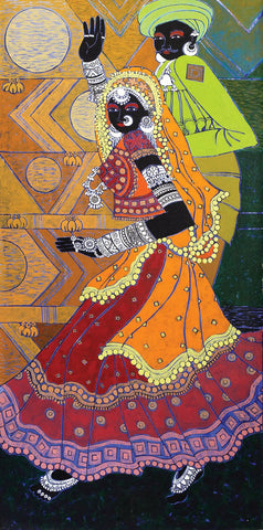 Festive Rhythm 47|Anuradha Thakur- Acrylic on Canvas, 2013, 48 x 24 inches