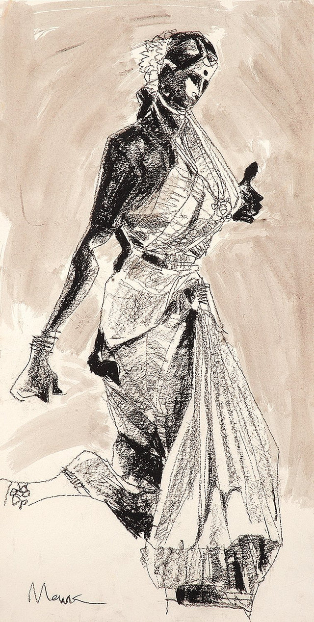 Performer 140|S. Mark Rathinaraj- Charcoal on Board, , 21.5 x 11 inches