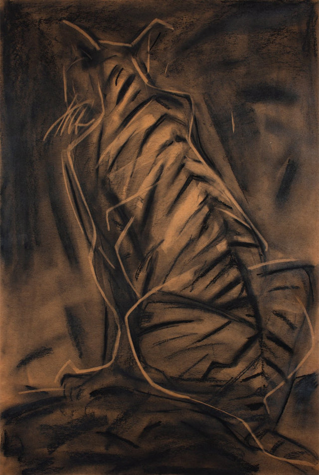 Tiger II|S. Mark Rathinaraj- Charcoal on Board, , 37 x 24 inches
