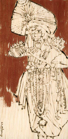 Performer 291|S. Mark Rathinaraj- Pyrography on Balsa Wood, , 8 x 4 inches