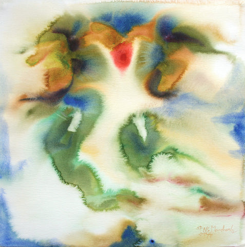 Ganesha 19|N.S. Manohar- Water colour on Board, 2012, 21.5 x 21.5 inches
