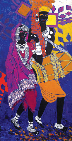 Festive Rhythm 29|Anuradha Thakur- Acrylic on Canvas, 2011, 48 x 24 inches