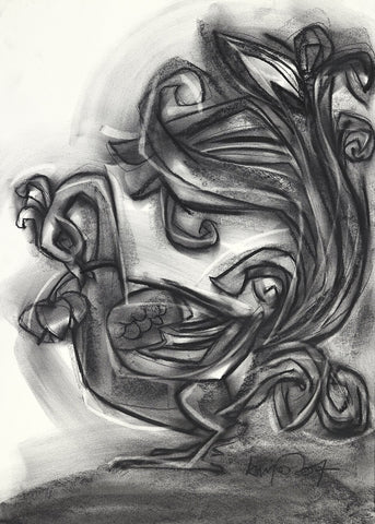 Annam|S. Mark Rathinaraj- Charcoal on Board, , 24.5 x 17 inches