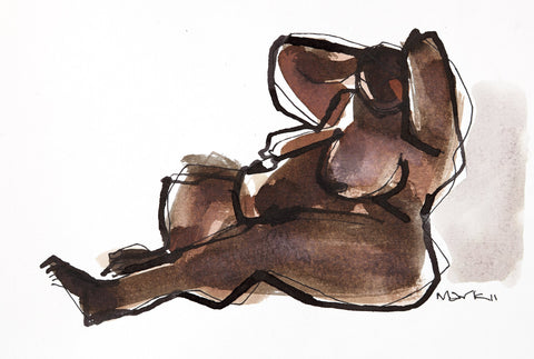 Nude 12|S. Mark Rathinaraj- Pen and Ink on Paper, , 5.5 x 8.5 inches