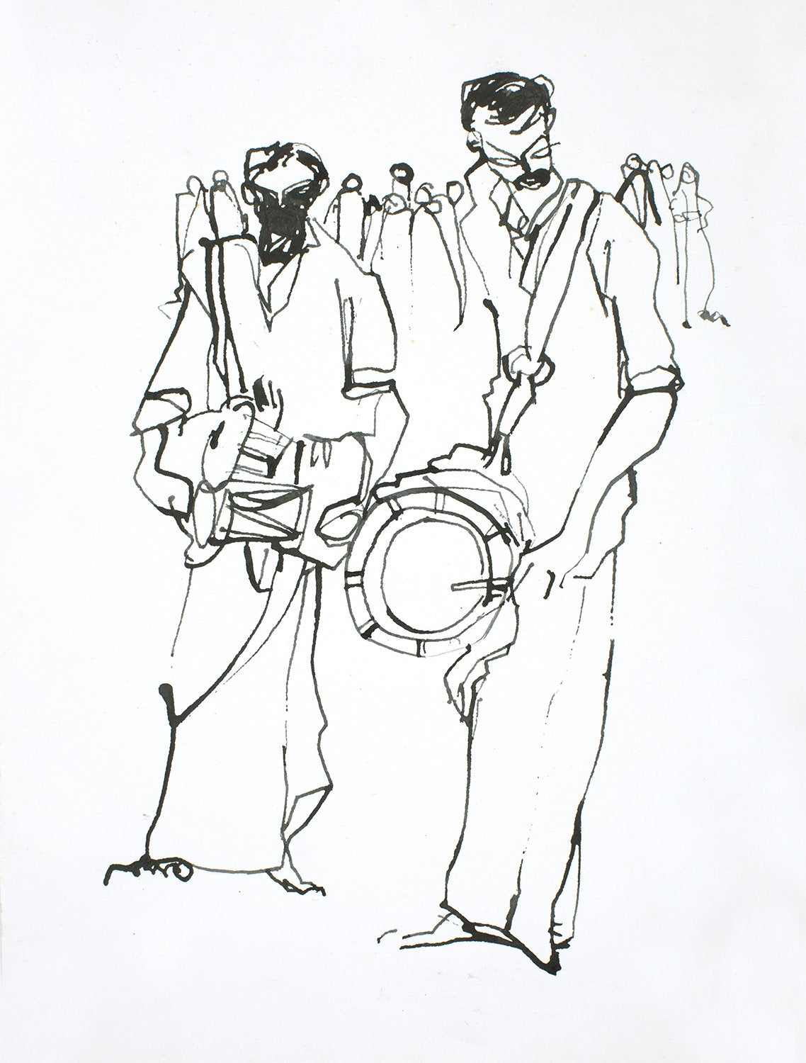 Performers II|S. Mark Rathinaraj- Pen and Ink on Paper, , 13 x 9  inches
