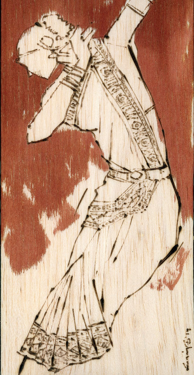 Performer 130|S. Mark Rathinaraj- Pyrography on Balsa Wood, , 8 x 4 inches