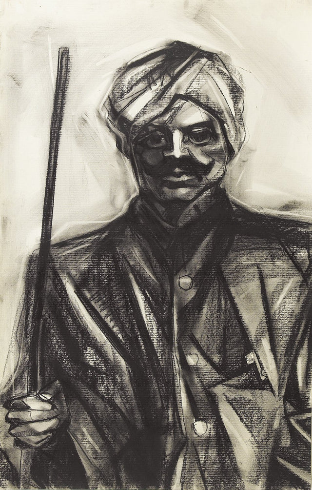 Bharathiyar I|S. Mark Rathinaraj- Charcoal on Board, , 26 x 17.5 inches