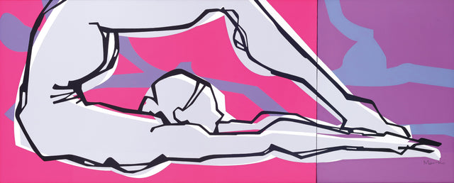 Yoga 17|S. Mark Rathinaraj-  Acrylic on Canvas, ,  24 x 60 inches