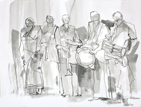 Performers III|S. Mark Rathinaraj- Pen and Ink on Paper, , 8.5 x 11.5 inches