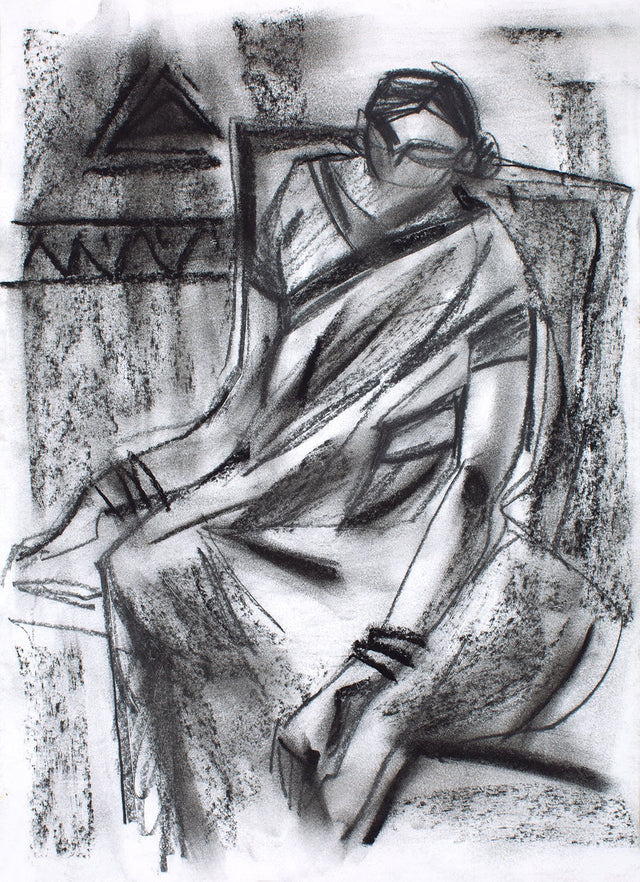 Women III|S. Mark Rathinaraj- Charcoal on Board, , 13 x 10 inches