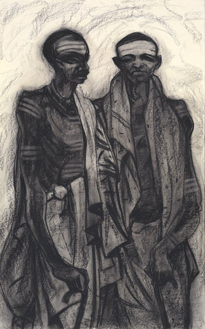Brothers|S. Mark Rathinaraj- Charcoal on Board, , 35 x 21.5 inches
