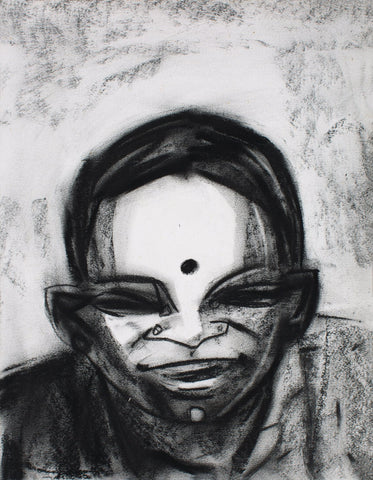 Neighbourhood 28|S. Mark Rathinaraj- Charcoal on Board, , 15 x 11.5 inches