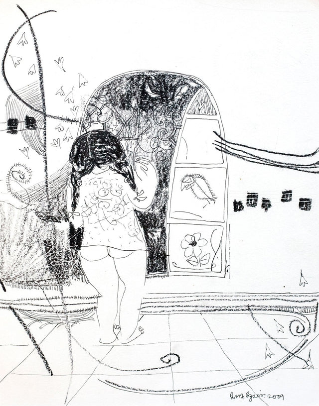 Looking Back 31|A. Vasudevan- Pen and Ink on Board, 2013, 9 x 7.5 inches