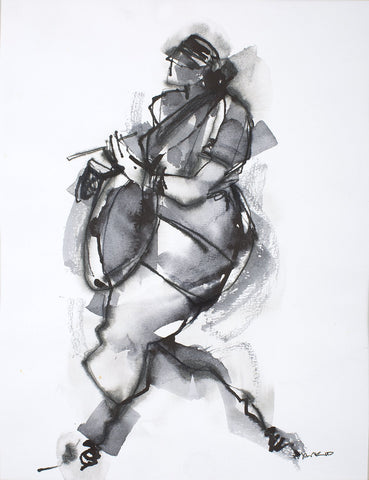 Performer 345|S. Mark Rathinaraj- Pen and Ink on Paper, , 11 x 8.5 inches