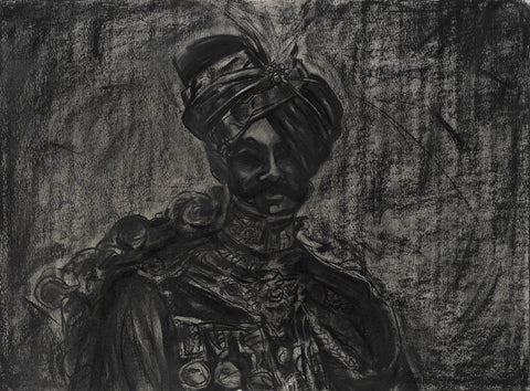 king III|S. Mark Rathinaraj- Charcoal on Board, , 20.5 x 27.5 inches