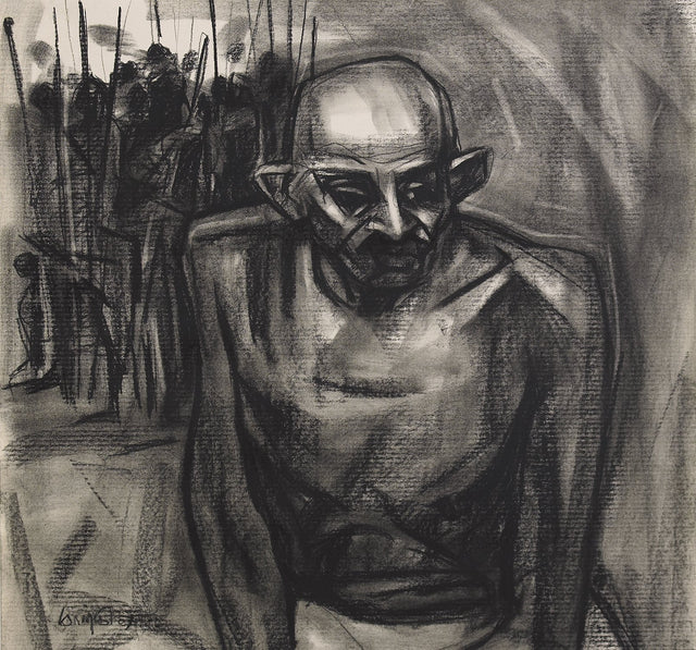 Mahathma Gandhi|S. Mark Rathinaraj- Charcoal on Board, , 18 x 19 inches