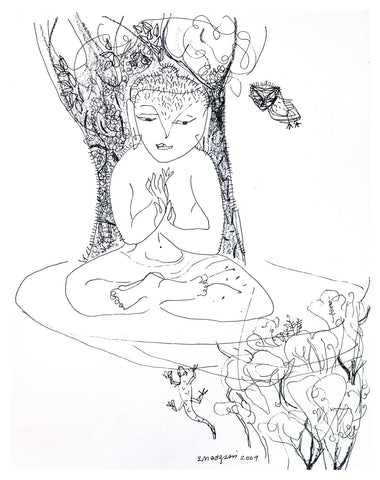 Beside of my Dream 31|A. Vasudevan- Pen and ink on board, 2013, 9 x 7.5 inches
