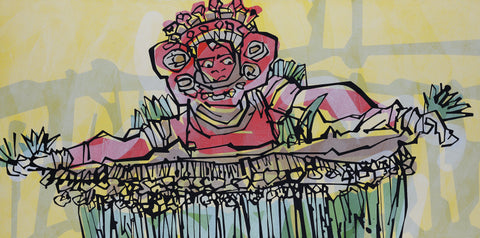 Performer 148|S. Mark Rathinaraj- Acrylic on Canvas, , 30 x 60 inches