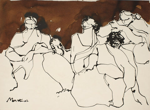 Crowd III|S. Mark Rathinaraj- Pen and Ink on Paper, , 16 x 9.5 inches