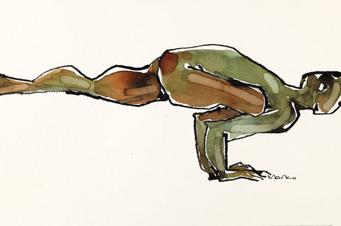 Yoga 23|S. Mark Rathinaraj- Pen and Ink on Paper, , 5.5 x 8.5 inches