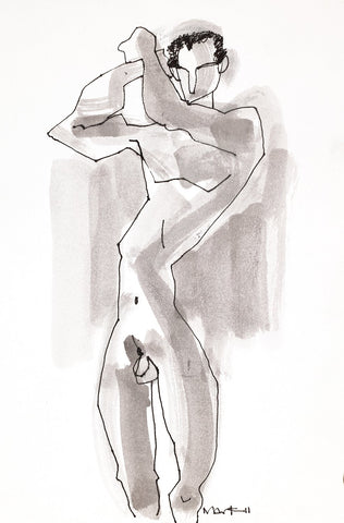 Nude 17|S. Mark Rathinaraj- Pen and Ink on Paper, , 11.5 x 8.25 inches