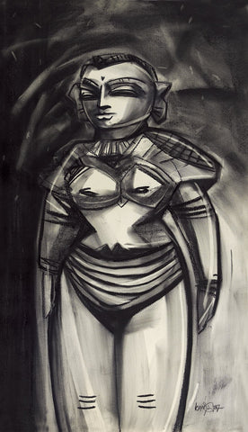 Marappachi Toy I|S. Mark Rathinaraj- Charcoal on Board, , 38.5 x 22 inches