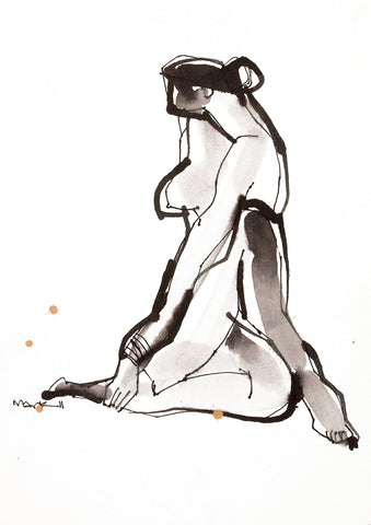 Nude 18|S. Mark Rathinaraj- Pen and Ink on Paper, , 11.5 x 8.25 inches