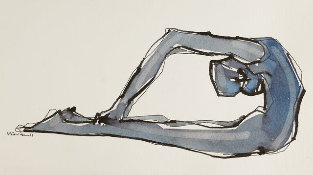 Yoga 27|S. Mark Rathinaraj- Pen and Ink on Paper, , 8.5 x 5.5 inches