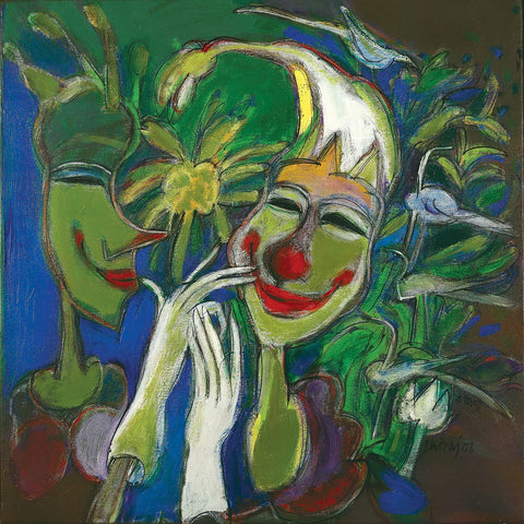 Smiling Clown|Dhiraj Choudhury- Acrylic on canvas, 2006, 24 x 24 inches