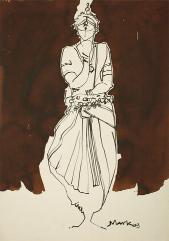 Performer 324|S. Mark Rathinaraj- Pen and Ink on Paper, , 21 x 15 inches