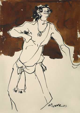Performer 325|S. Mark Rathinaraj- Pen and Ink on Paper, , 21 x 15 inches