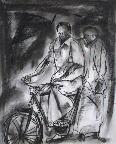Travelling I|S. Mark Rathinaraj- Charcoal on Board, , 12 x 10.5 inches