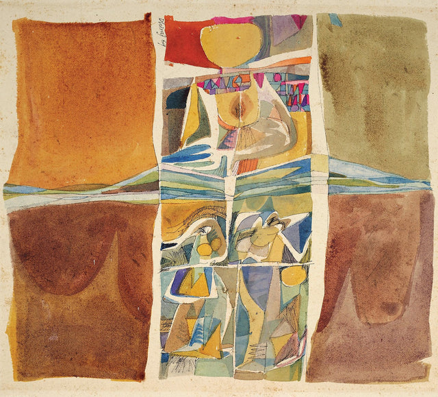 Composition 2|Dhiraj Choudhury- Watercolor on Paper , 1969, 20 x 24 inches