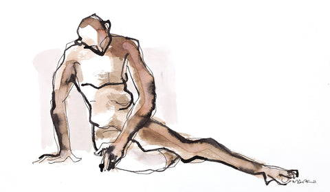 Nude 22|S. Mark Rathinaraj- Pen and Ink on Paper, , 11.5 x 8.25 inches